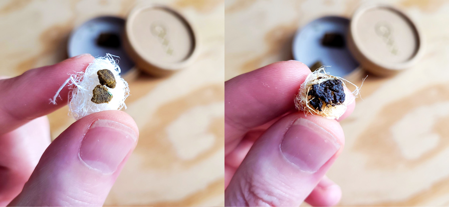 this is what hash looks like before and after you melt it in a vaporizer
